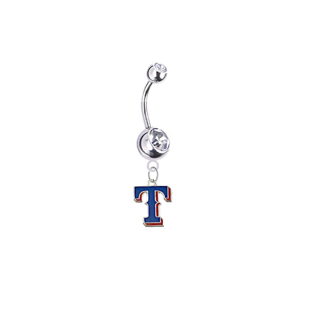 Texas Rangers Style 2 Silver Clear Swarovski Belly Button Navel Ring - Customize Gem Colors