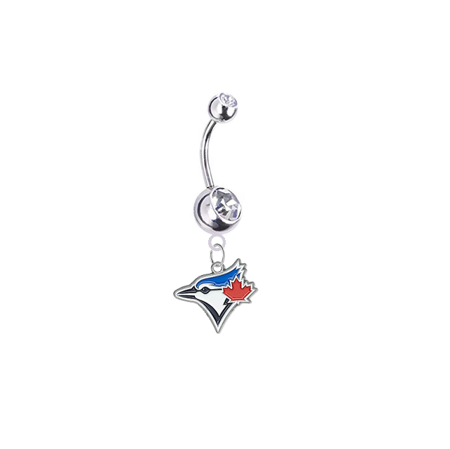 Toronto Blue Jays Silver Clear Swarovski Belly Button Navel Ring - Customize Gem Colors
