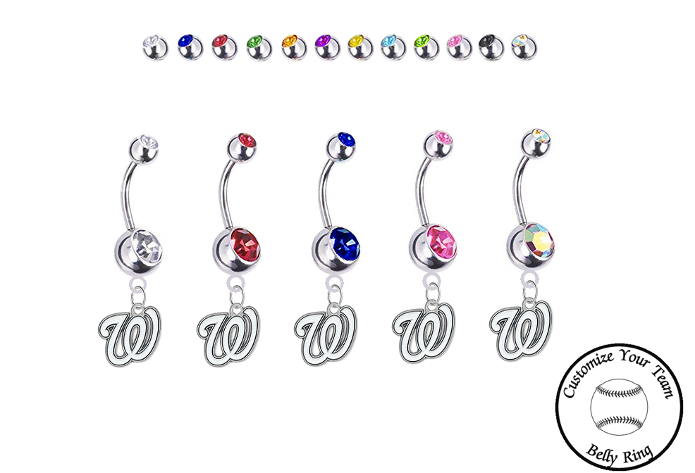 Washington Nationals Silver Swarovski Belly Button Navel Ring - Customize Gem Colors