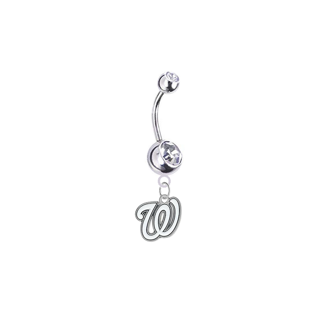 Washington Nationals Silver Clear Swarovski Belly Button Navel Ring - Customize Gem Colors