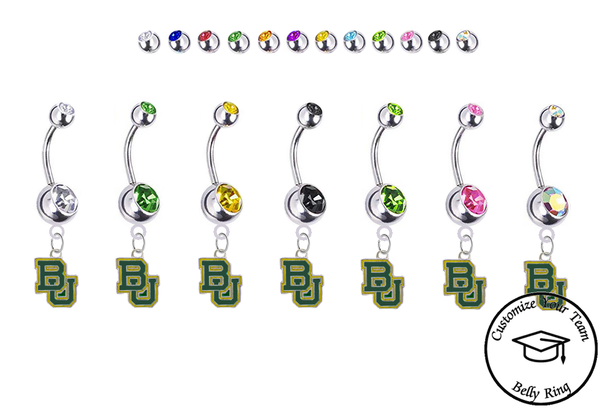 Baylor Bears Silver Swarovski Belly Button Navel Ring - Customize Gem Colors