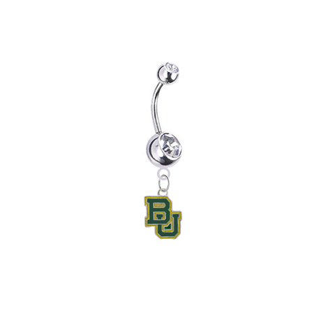 Baylor Bears Silver Clear Swarovski Belly Button Navel Ring - Customize Gem Colors