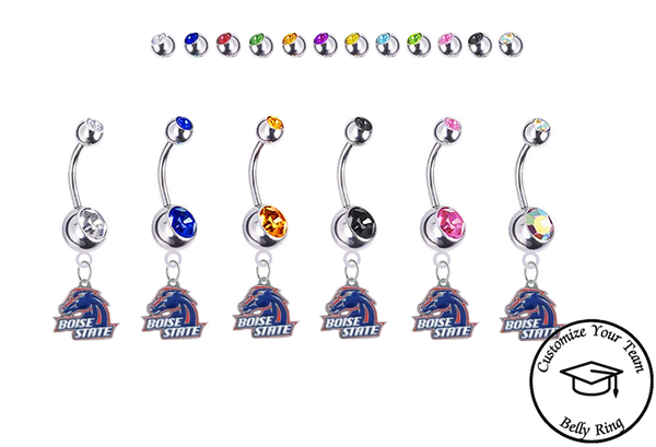 Boise State Broncos Silver Swarovski Belly Button Navel Ring - Customize Gem Colors