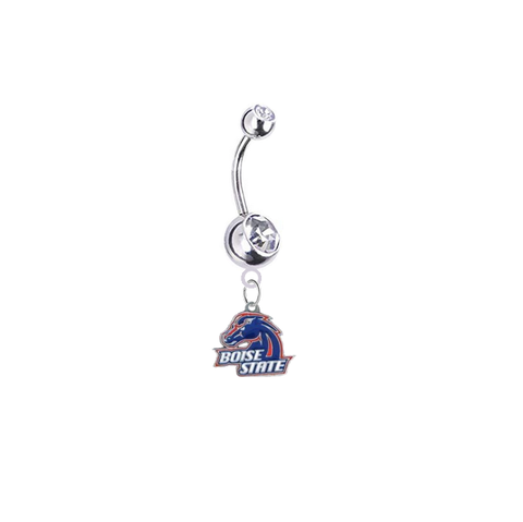 Boise State Broncos Silver Swarovski Clear Belly Button Navel Ring - Customize Gem Colors