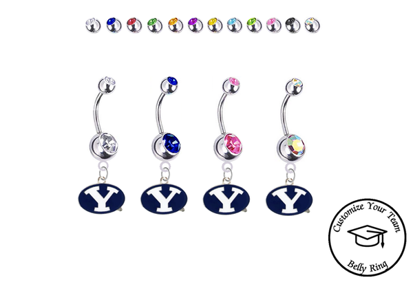Brigham Young BYU Cougars Silver Swarovski Belly Button Navel Ring - Customize Gem Colors