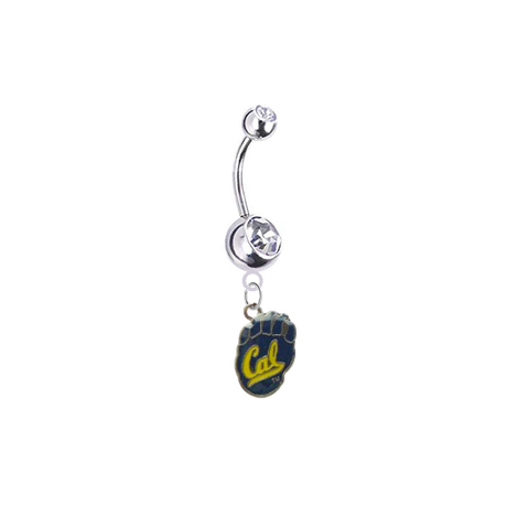 California Cal Golden Bears Silver Clear Swarovski Belly Button Navel Ring - Customize Gem Colors