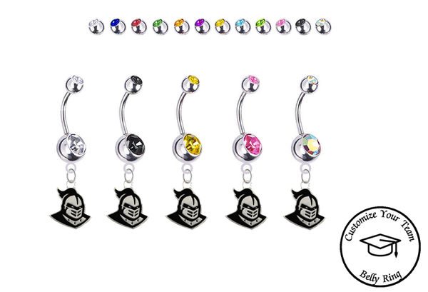 Central Florida Knights Silver Swarovski Belly Button Navel Ring - Customize Gem Colors