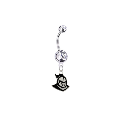 Central Florida Knights Silver Swarovski Clear Belly Button Navel Ring - Customize Gem Colors