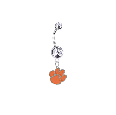 Clemson Tigers Silver Clear Swarovski Belly Button Navel Ring - Customize Gem Colors