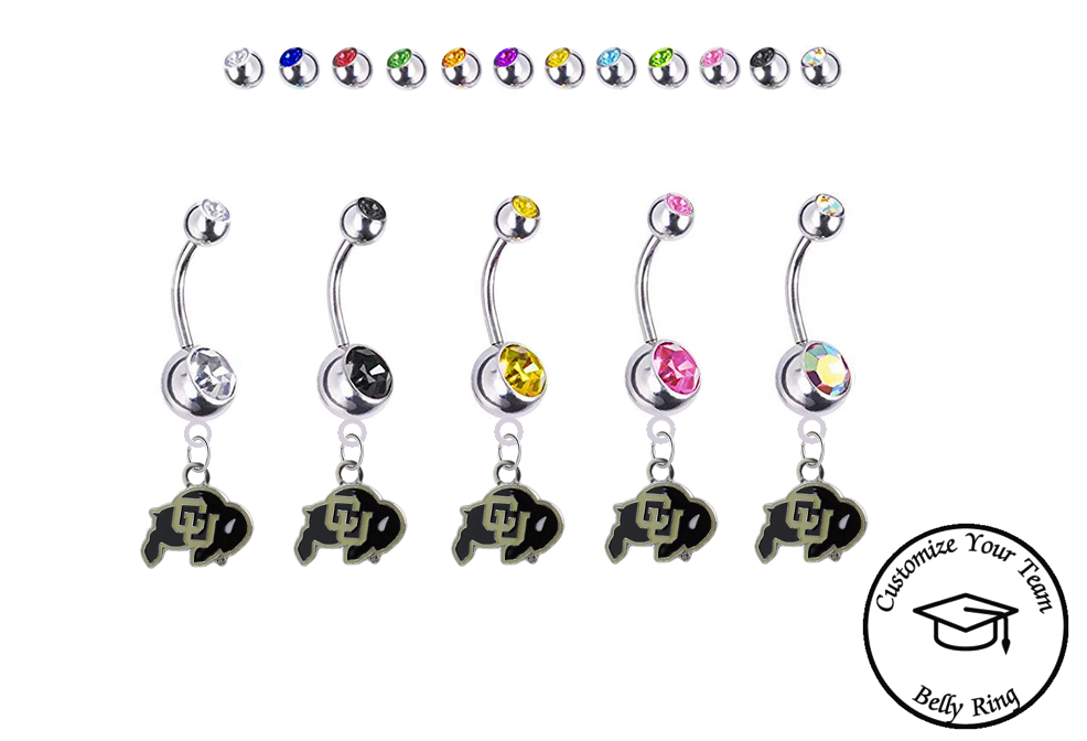 Colorado Buffaloes Silver Swarovski Belly Button Navel Ring - Customize Gem Colors