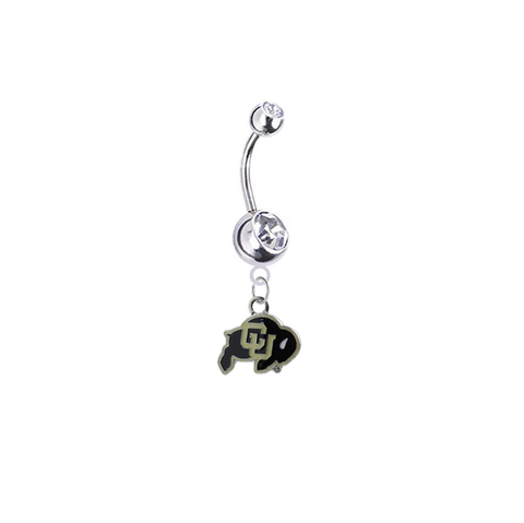 Colorado Buffaloes Silver Clear Swarovski Belly Button Navel Ring - Customize Gem Colors