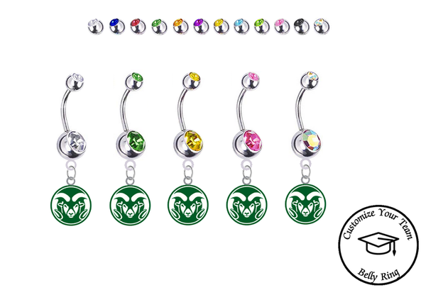 Colorado State Rams Silver Swarovski Belly Button Navel Ring - Customize Gem Colors