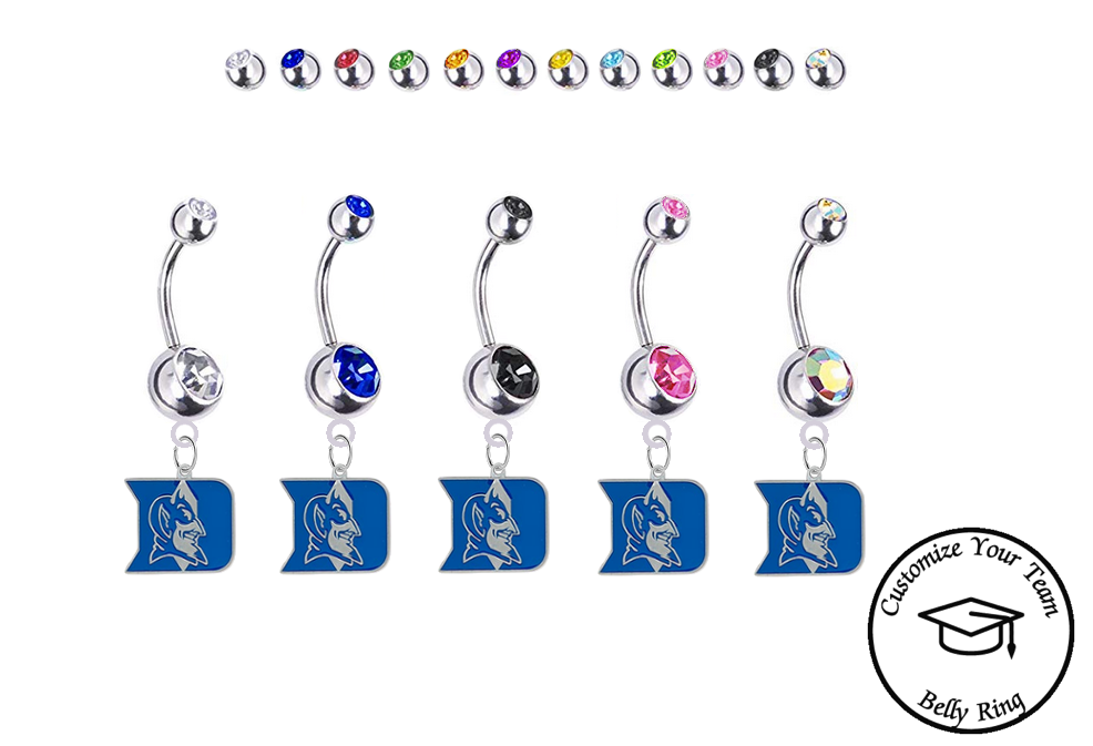 Duke Blue Devils Silver Swarovski Belly Button Navel Ring - Customize Gem Colors