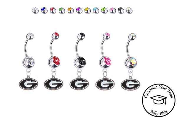 Georgia Bulldogs Silver Swarovski Belly Button Navel Ring - Customize Gem Colors