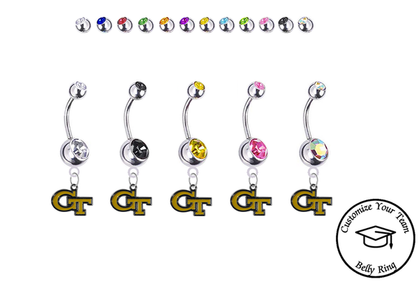 Georgia Tech Yellow Jackets Silver Swarovski Belly Button Navel Ring - Customize Gem Colors