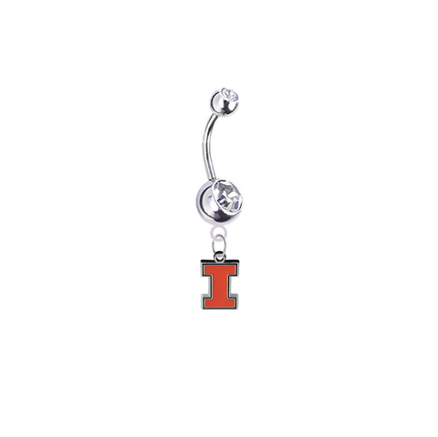 Illinois Fighting Illini Silver Clear Swarovski Belly Button Navel Ring - Customize Gem Colors