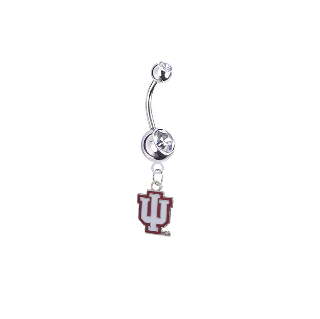 Indiana Hoosiers Silver Clear Swarovski Belly Button Navel Ring - Customize Gem Colors