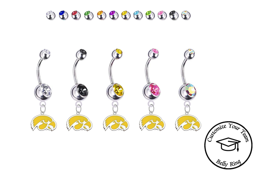 Iowa Hawkeyes Style 2 Silver Swarovski Belly Button Navel Ring - Customize Gem Colors