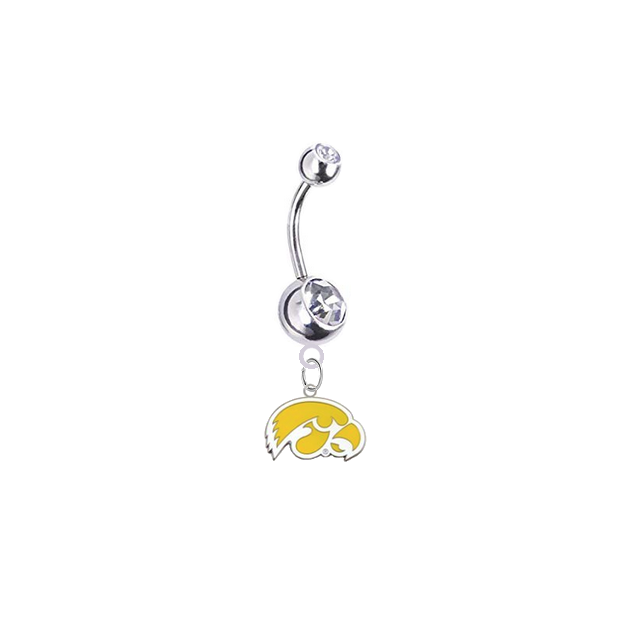 Iowa Hawkeyes Style 2 Silver Clear Swarovski Belly Button Navel Ring - Customize Gem Colors