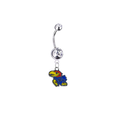 Kansas Jayhawks Silver Clear Swarovski Belly Button Navel Ring - Customize Gem Colors