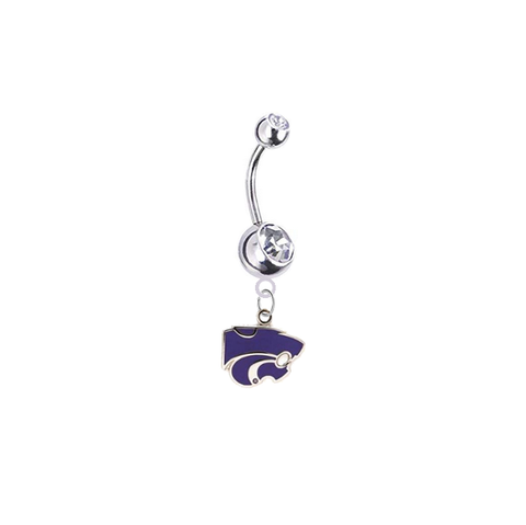 Kansas State Wildcats Silver Clear Swarovski Belly Button Navel Ring - Customize Gem Colors