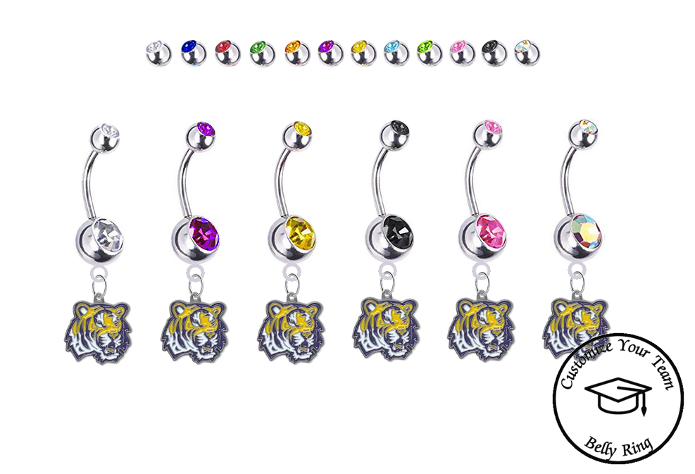LSU Tigers Silver Swarovski Belly Button Navel Ring - Customize Gem Colors