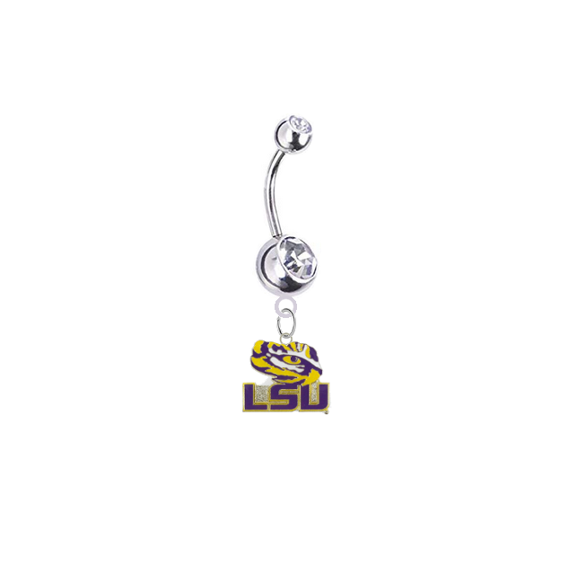 LSU Tigers Style 3 Silver Clear Swarovski Belly Button Navel Ring - Customize Gem Colors