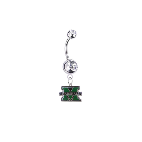 Marshall Thundering Herd Silver Clear Swarovski Belly Button Navel Ring - Customize Gem Colors