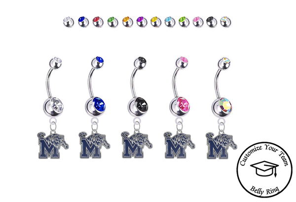 Memphis Tigers Silver Swarovski Belly Button Navel Ring - Customize Gem Colors