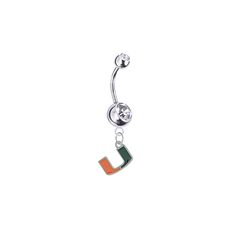 Miami Hurricanes Silver Clear Swarovski Belly Button Navel Ring - Customize Gem Colors