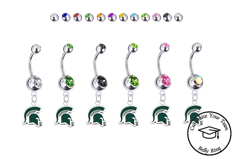 Michigan State Spartans Mascot Silver Swarovski Belly Button Navel Ring - Customize Gem Colors