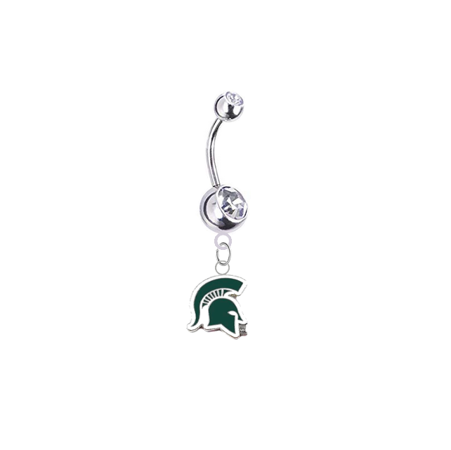 Michigan State Spartans Mascot Silver Clear Swarovski Belly Button Navel Ring - Customize Gem Colors