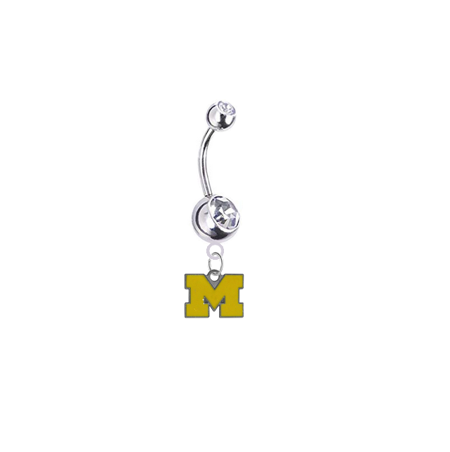 Michigan Wolverines Style 3 Silver Clear Swarovski Belly Button Navel Ring - Customize Gem Colors