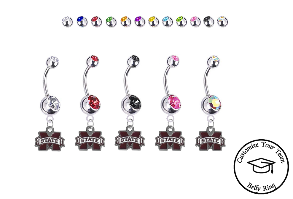 Mississippi State Bulldogs Silver Swarovski Belly Button Navel Ring - Customize Gem Colors