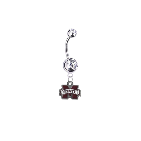 Mississippi State Bulldogs Silver Clear Swarovski Belly Button Navel Ring - Customize Gem Colors