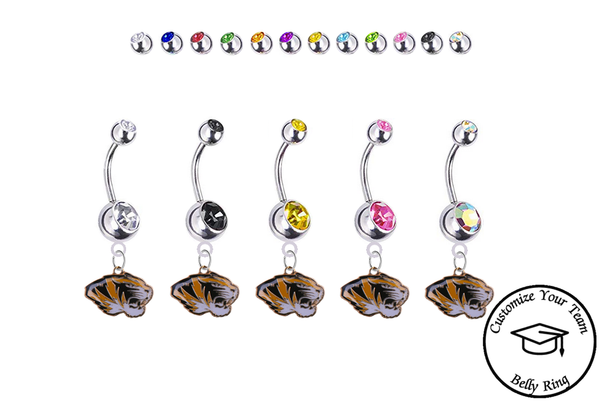 Missouri Tigers Silver Swarovski Belly Button Navel Ring - Customize Gem Colors
