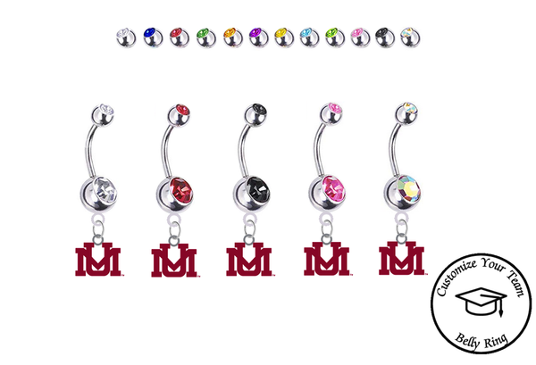 Montana Grizzlies Silver Swarovski Belly Button Navel Ring - Customize Gem Colors