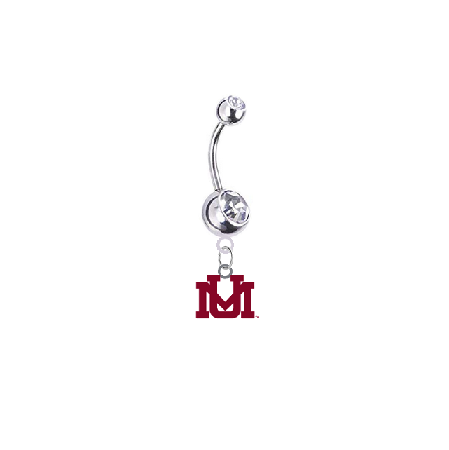 Montana Grizzlies Silver Clear Swarovski Belly Button Navel Ring - Customize Gem Colors