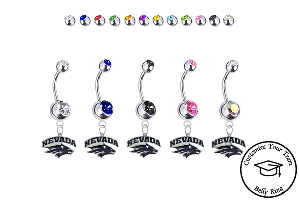 Nevada Wolfpack Silver Swarovski Belly Button Navel Ring - Customize Gem Colors