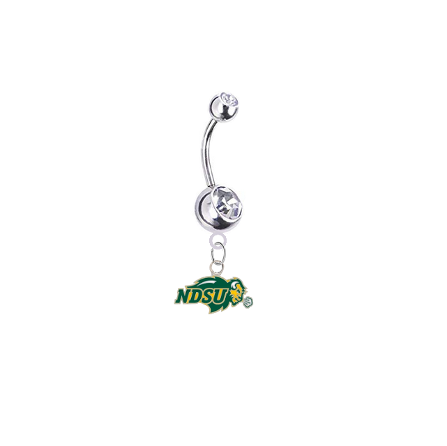 North Dakota State Bison Silver Clear Swarovski Belly Button Navel Ring - Customize Gem Colors