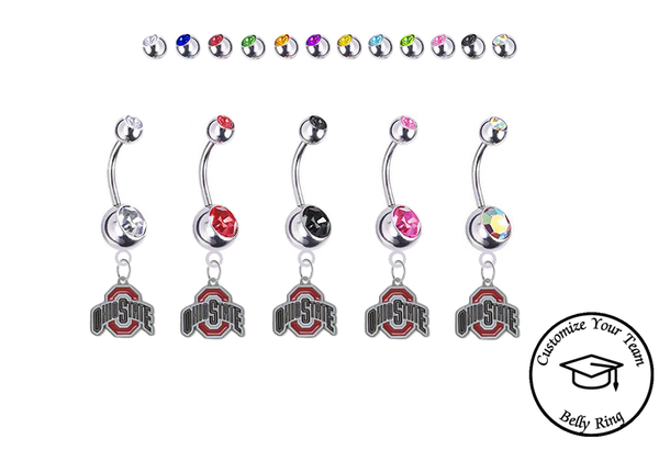 Ohio State Buckeyes Silver Swarovski Belly Button Navel Ring - Customize Gem Colors