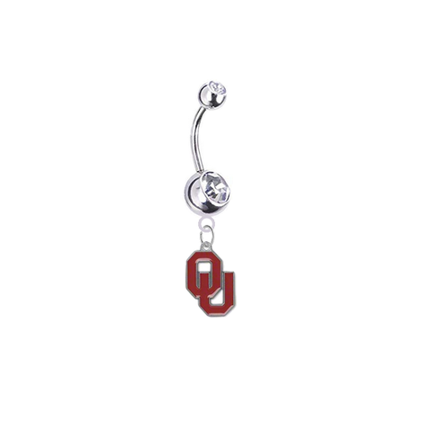 Oklahoma Sooners Silver Clear Swarovski Belly Button Navel Ring - Customize Gem Colors