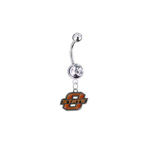 Oklahoma State Cowboys Silver Clear Swarovski Belly Button Navel Ring - Customize Gem Colors