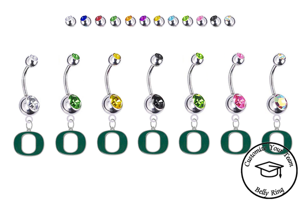 Oregon Ducks Silver Swarovski Belly Button Navel Ring - Customize Gem Colors
