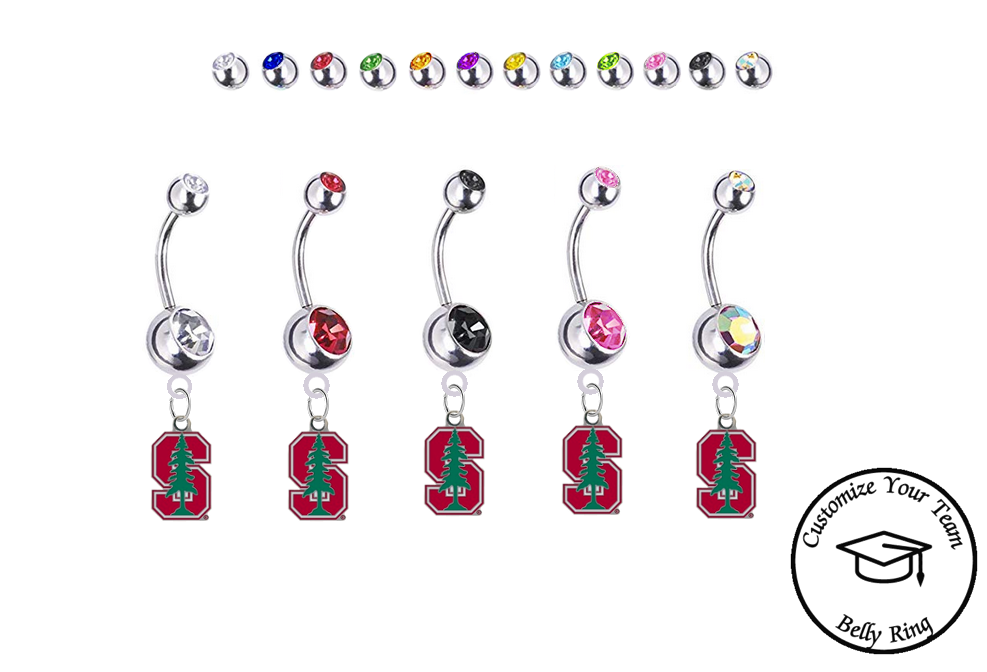 Stanford Cardinal Silver Swarovski Belly Button Navel Ring - Customize Gem Colors