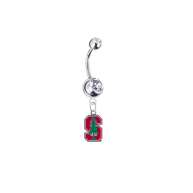 Stanford Cardinal Silver Clear Swarovski Belly Button Navel Ring - Customize Gem Colors