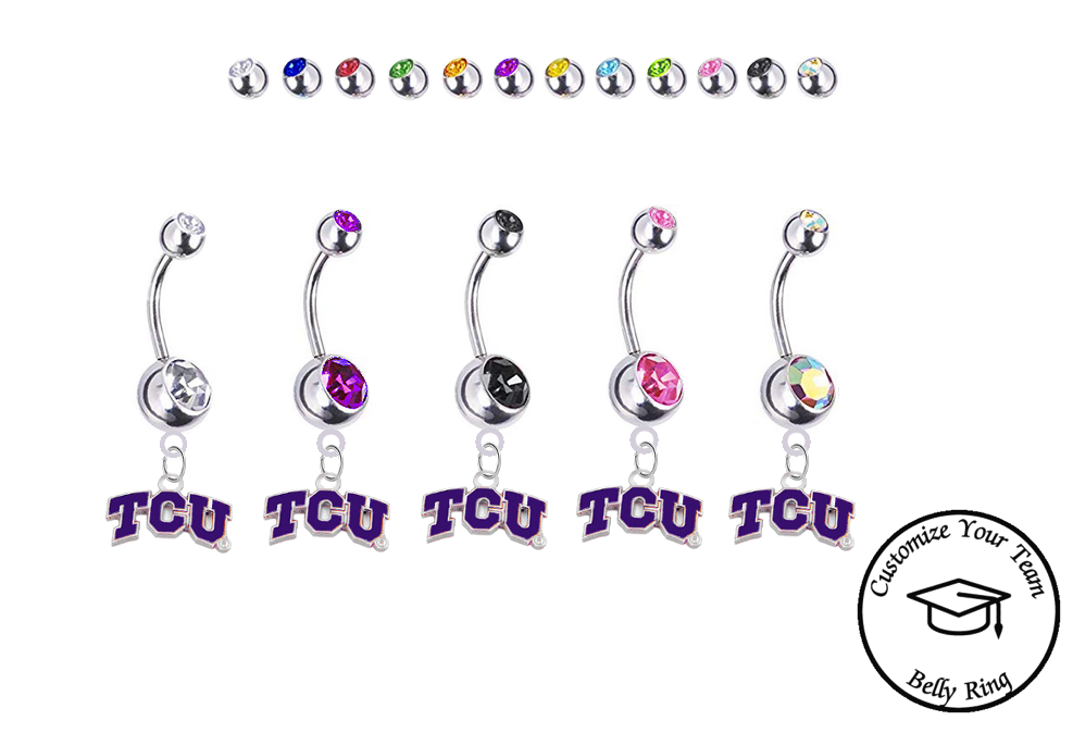 TCU Horned Frogs Silver Swarovski Belly Button Navel Ring - Customize Gem Colors