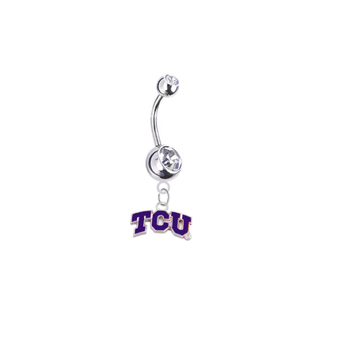 TCU Horned Frogs Silver Clear Swarovski Belly Button Navel Ring - Customize Gem Colors
