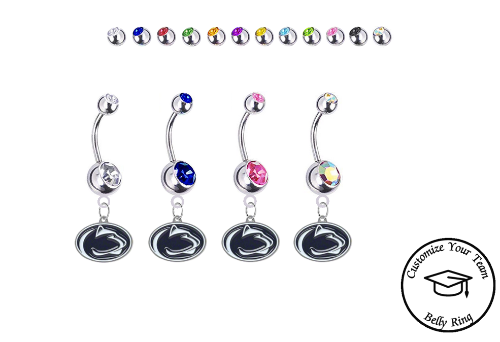 Penn State Nittany Lions Silver Swarovski Belly Button Navel Ring - Customize Gem Colors