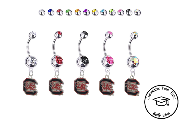 South Carolina Gamecocks Silver Swarovski Belly Button Navel Ring - Customize Gem Colors